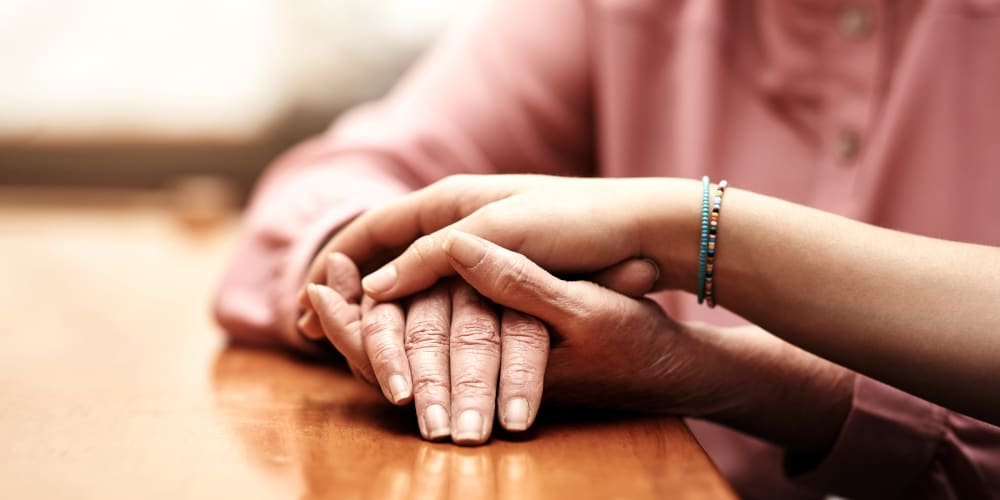 A family member holding a resident's hand at Careage Home Health in Bellevue, Washington.