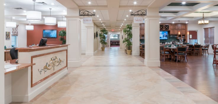 Front lobby and concierge at Merrill Gardens at ChampionsGate
