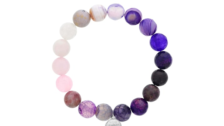 Chakra Bead Bracelet in Purple and White