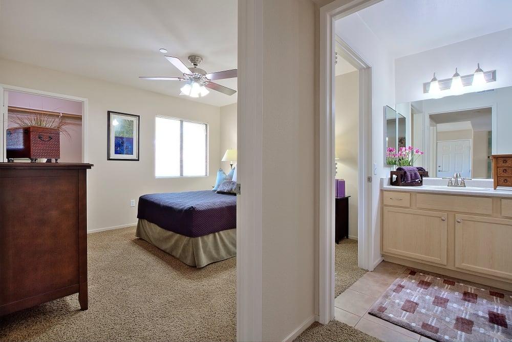 Bedroom & Bathroom at Cielo Apartment Homes in Henderson, Nevada