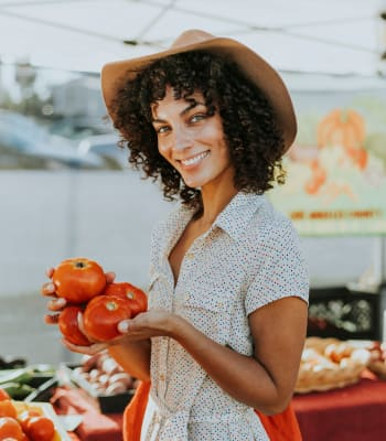 Resident out at the farmers market near River Oaks Apartment Homes in Vacaville, California