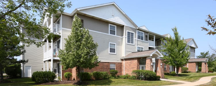 Exterior view of one of the resident buildings at The Preserve at Osprey Lake in Gurnee