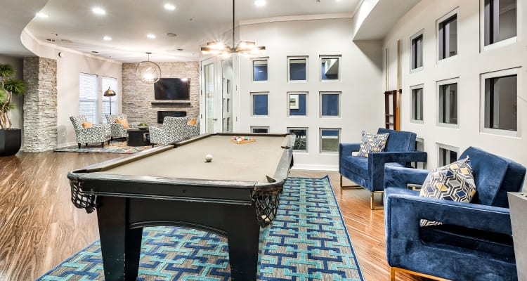 Billiard table & lounge at The Quarters at Towson Town Center in Towson, Maryland