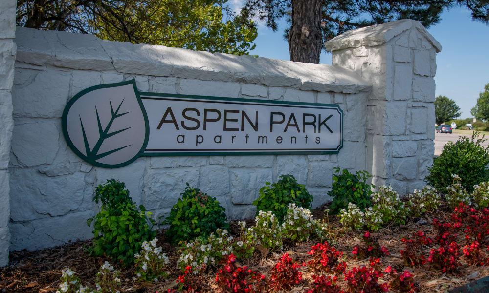 Property signage at Aspen Park Apartments in Wichita, Kansas