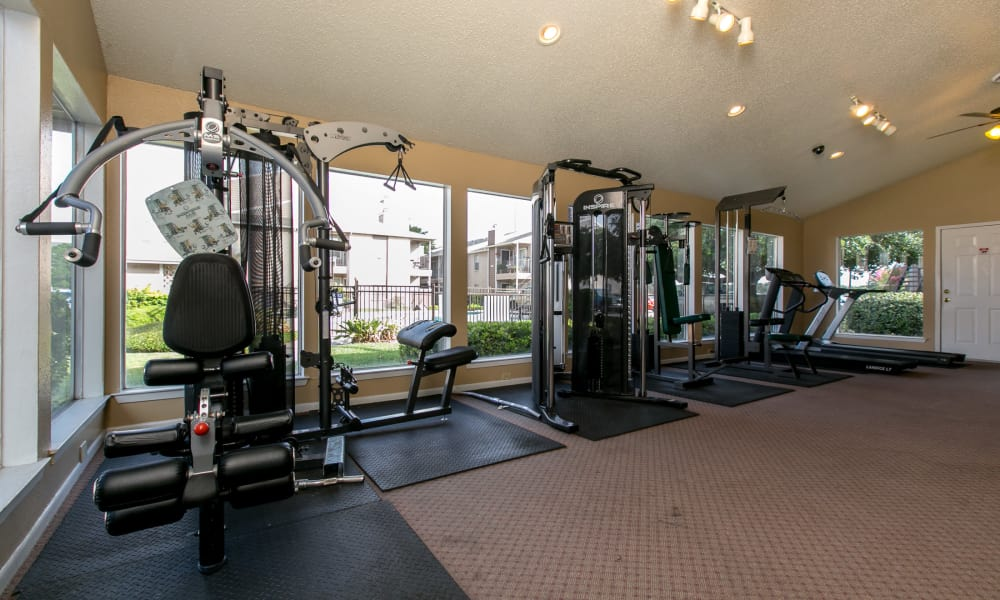 Spacious fitness center at Tuscana Bay Apartments in Corpus Christi, Texas