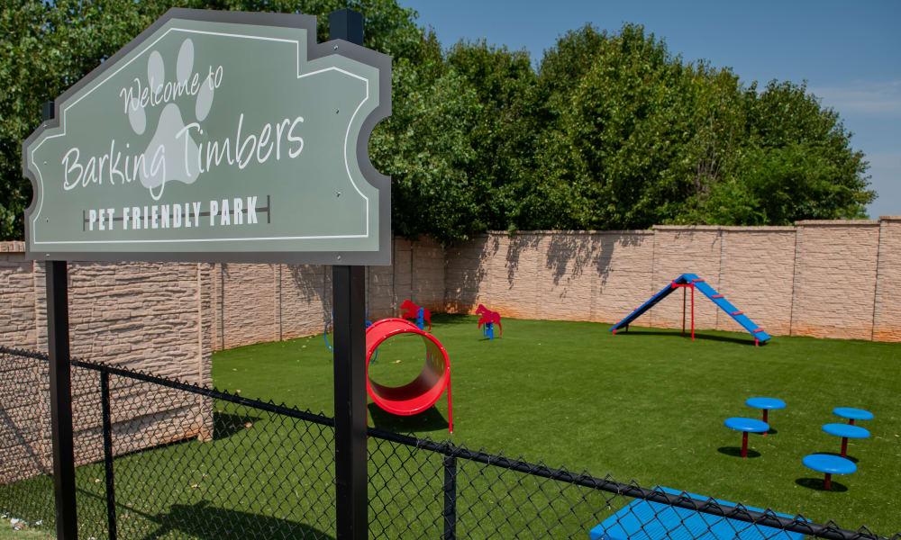 Onsite dog park at Cross Timber in Oklahoma City, Oklahoma