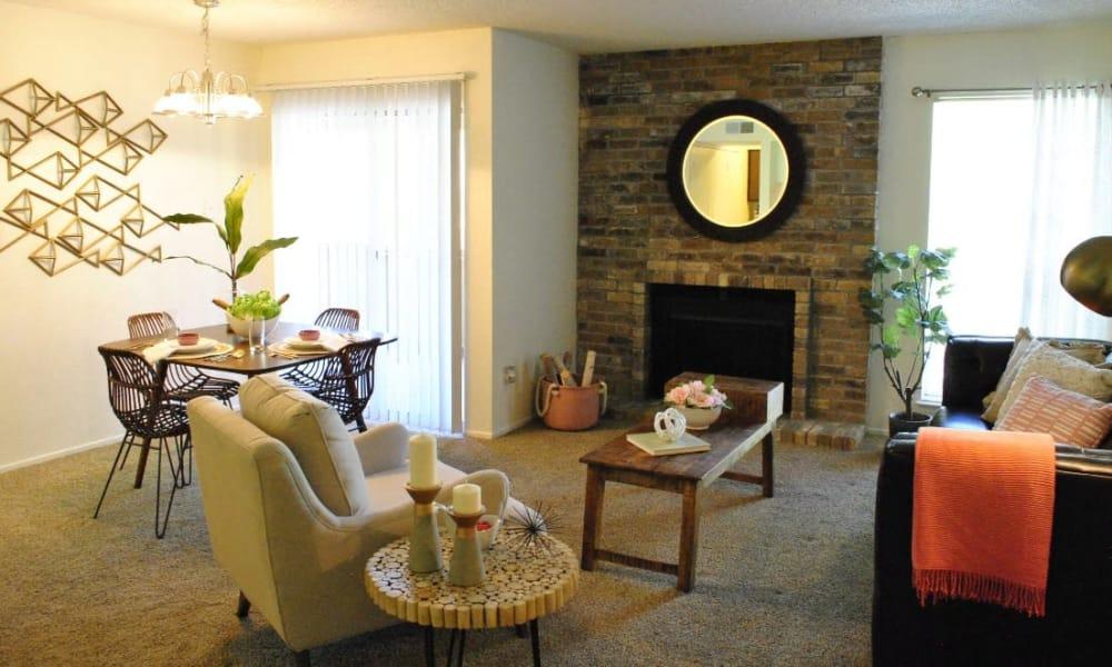 Spacious living room at The Chimneys Apartments in El Paso, Texas