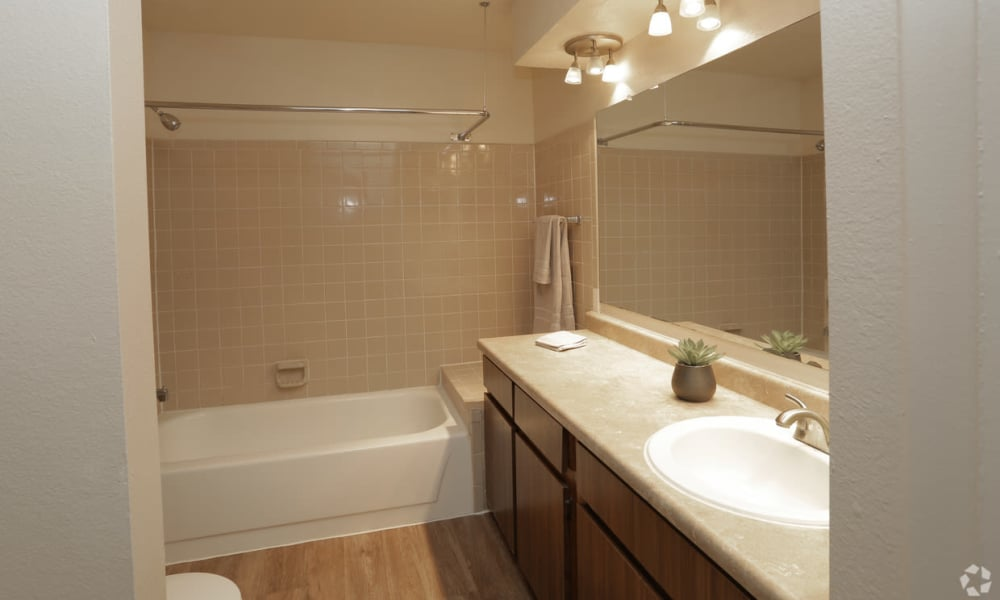 Large bathroom with ample countertops at High Ridge Apartments in El Paso, Texas