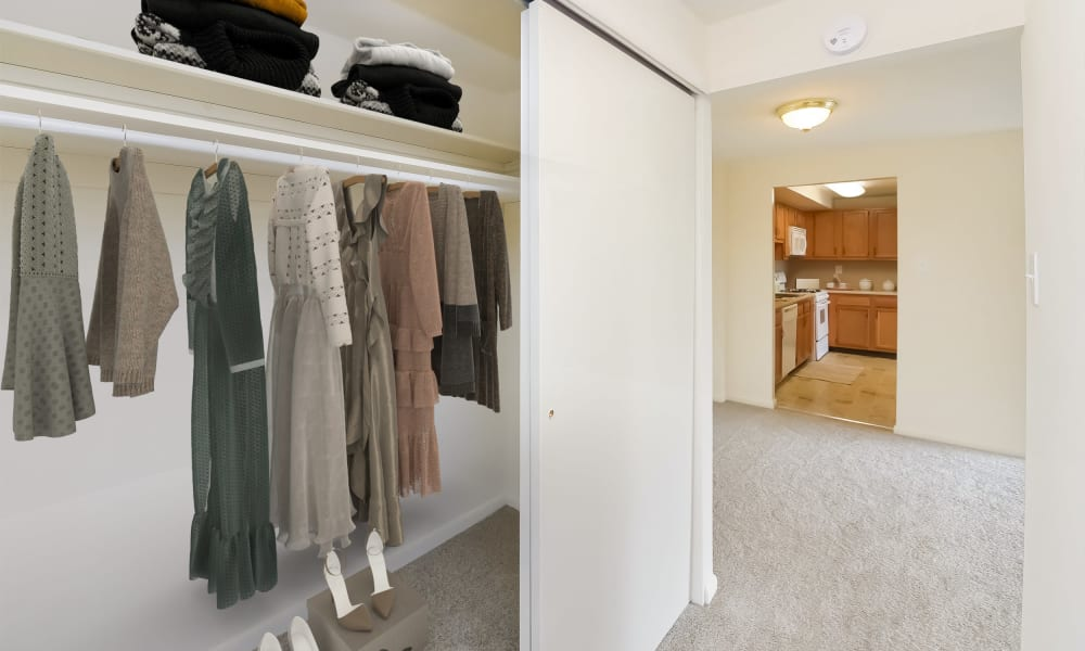 Bedroom Closet at Strafford Station Apartments in Wayne, Pennsylvania