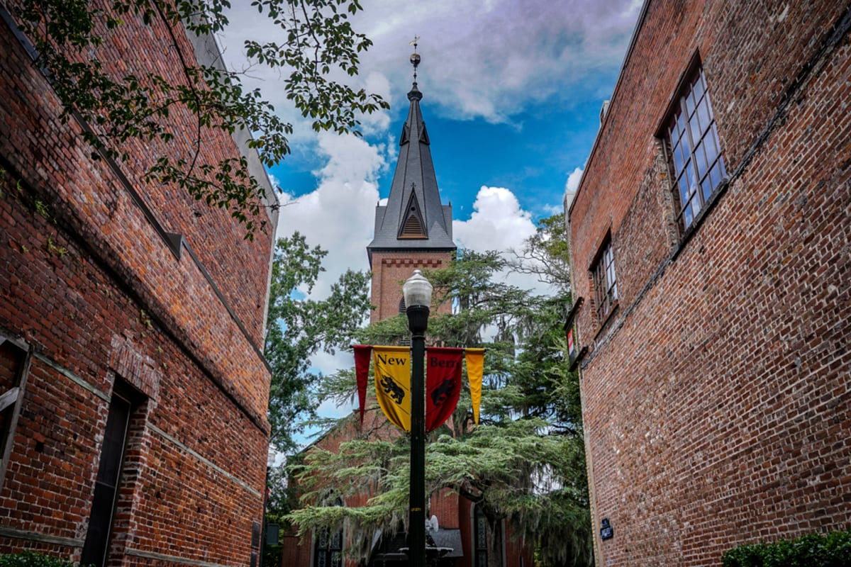 An old church nearby Courtyards at Berne Village in New Bern, North Carolina