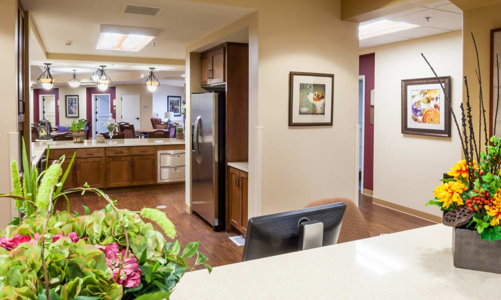 A memory care community kitchen and space at Touchmark at Harwood Groves in Fargo, North Dakota