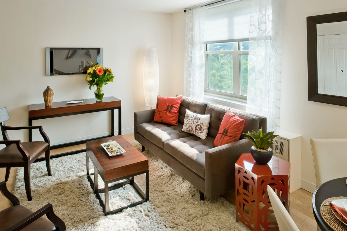Bright and modern living space in model home at Camelot Court in Brighton, MA