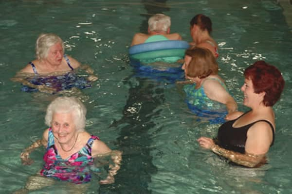 Residents at a water aerobics class in Chestnut Knoll in Boyertown, Pennsylvania