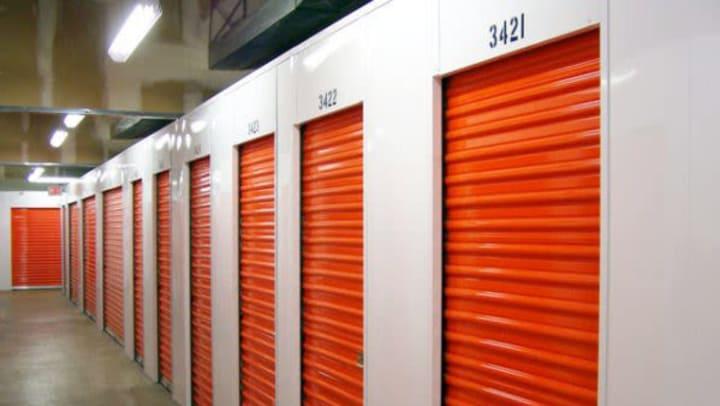 Interior storage units with red doors at Extra Attic Mini Storage in Richmond, Virginia