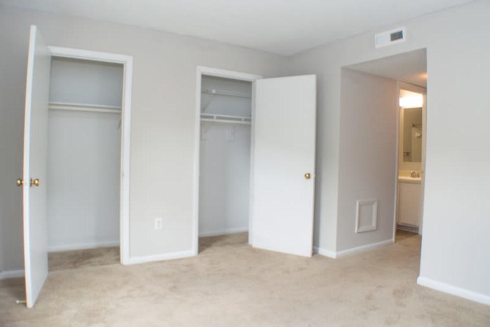 Two closets by bathroom hallway at Laurel Pines Apartments in Richmond, Virginia