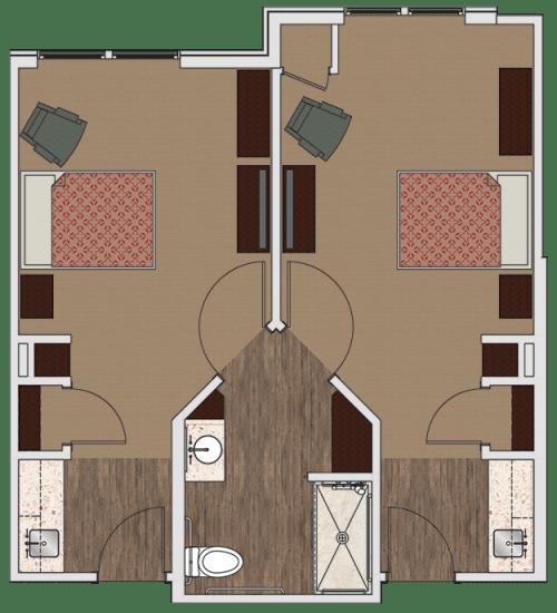 Semi-private memory care apartment at Stonecrest of Rochester Hills