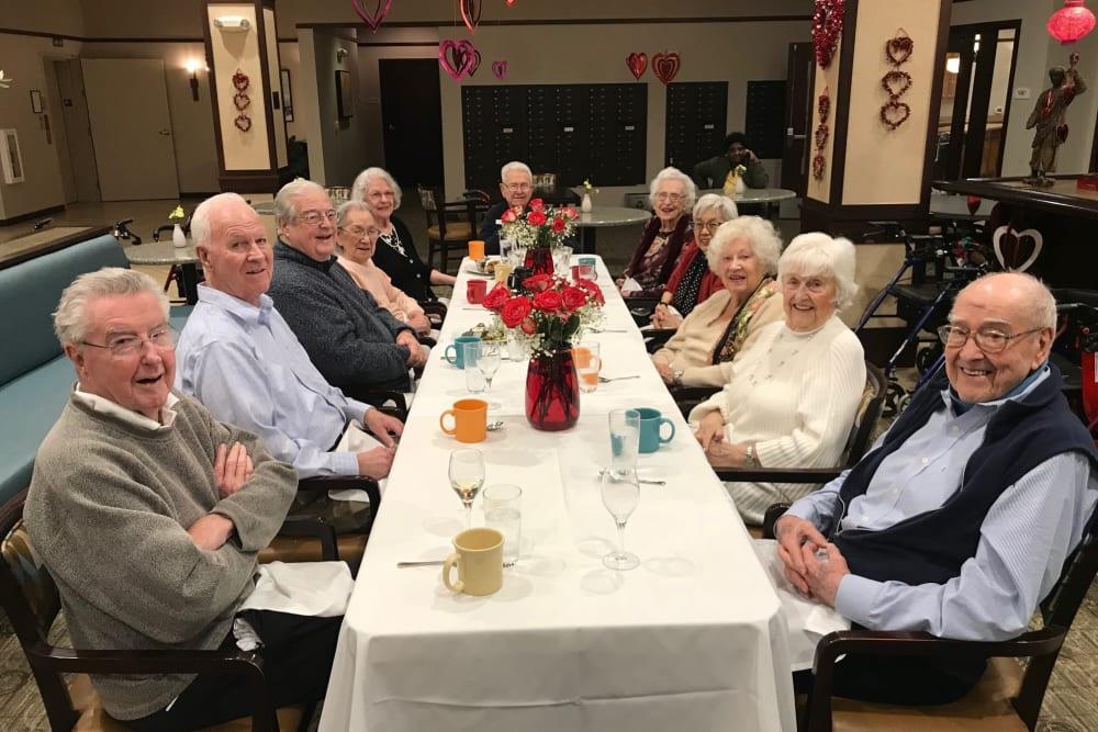 Resident friends out for a meal near Merrill Gardens at Kirkland in Kirkland, Washington.