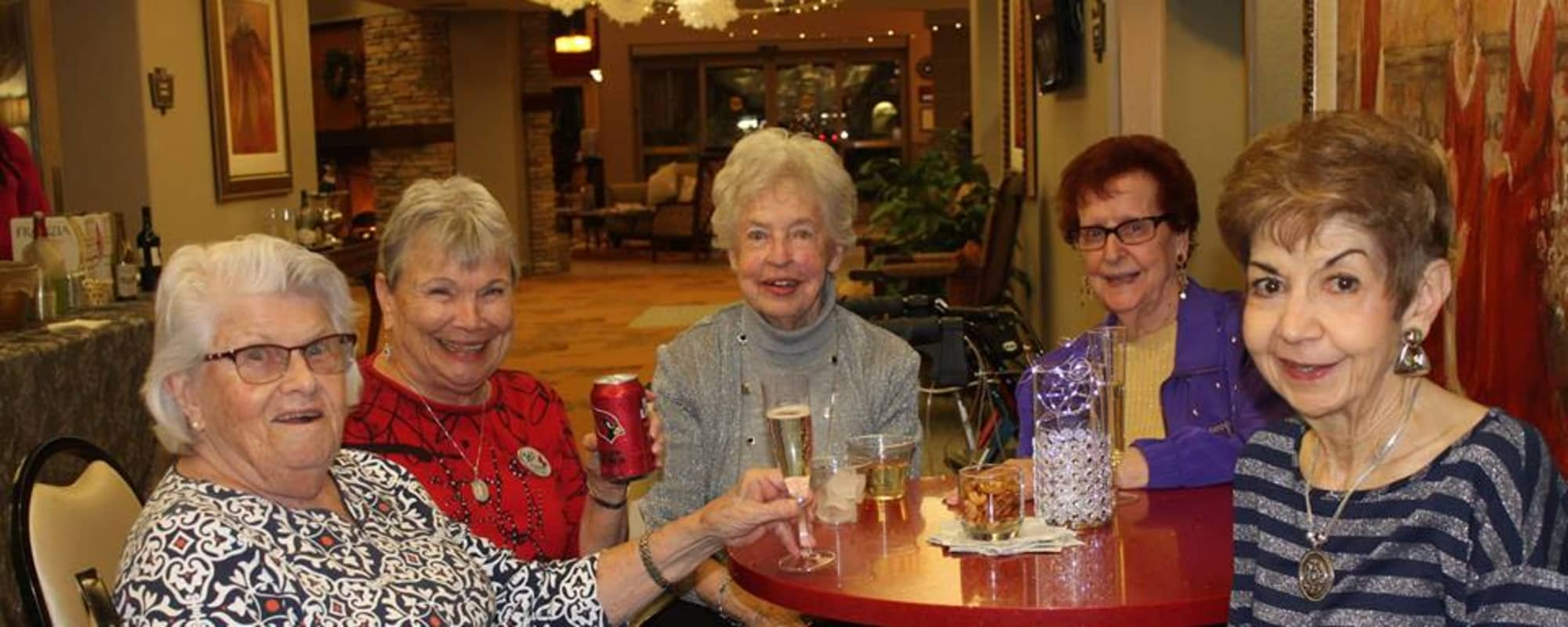 Seniors enjoying drinks at McDowell Village in Scottsdale, Arizona