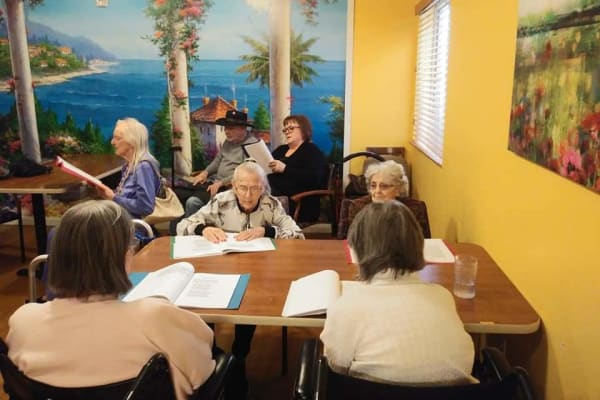 Residents reading at Lakeview Terrace of Boulder City
