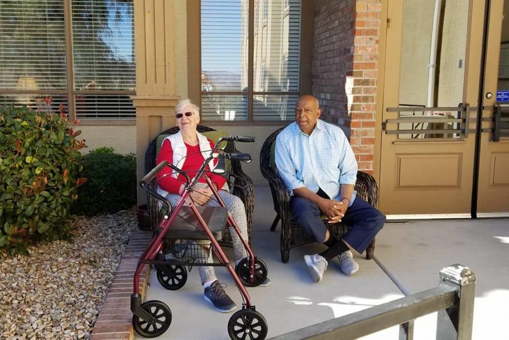 senior residents enjoying the weather