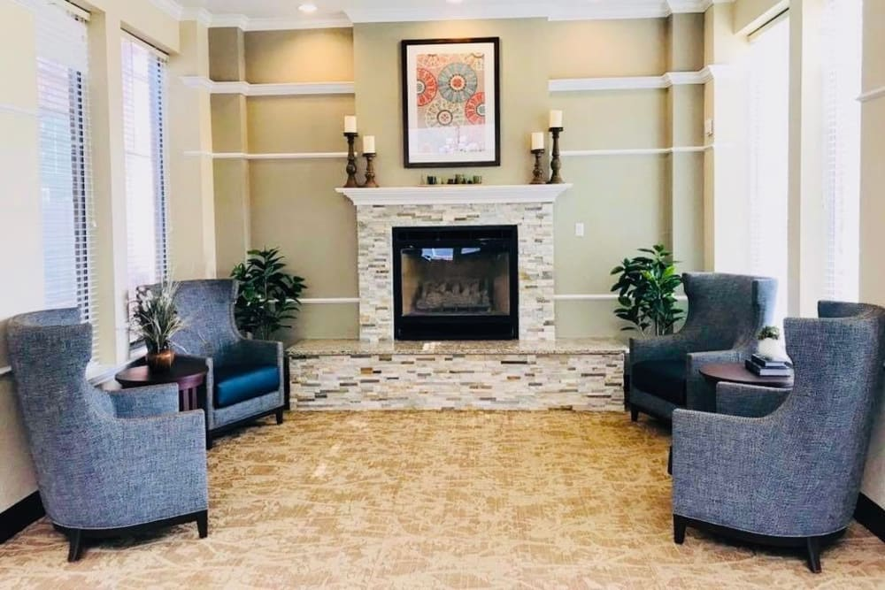 Lobby seating at Lionwood in Oklahoma City, Oklahoma.