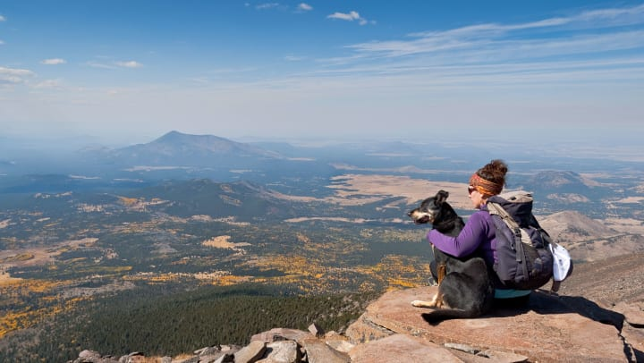 A woman sitting on a mountain peak in a hiking backpack and headband with her arm around a dog