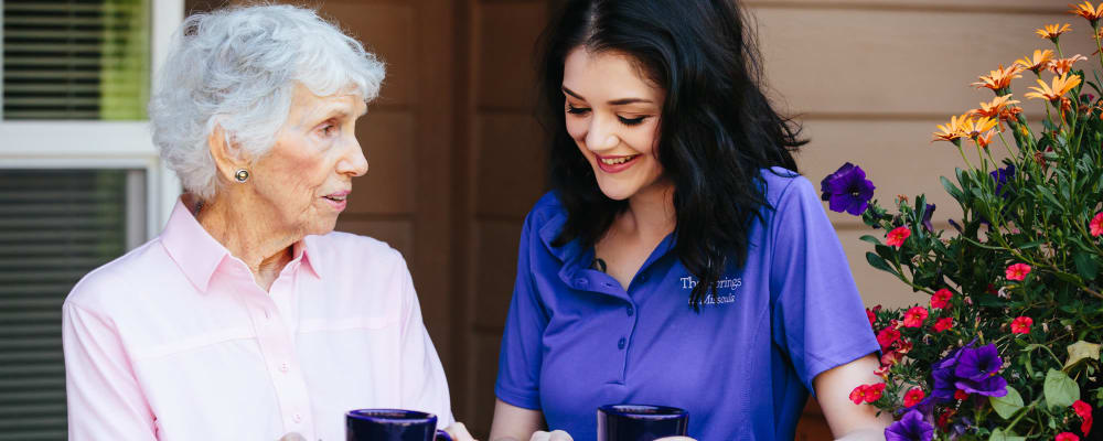 Resident with caregiver at The Springs at Missoula in Missoula, Montana