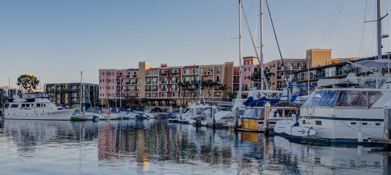 Marina view outside The Villa waterfront apartments at Marina Harbor in Marina del Rey, California