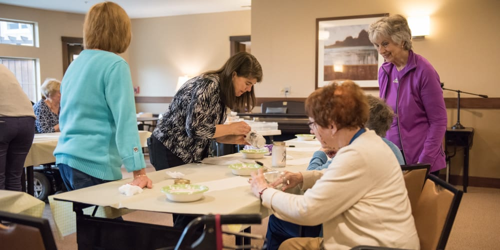 Residents crafting together at The Springs at Tanasbourne in Hillsboro, Oregon