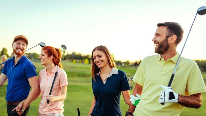 Friends golfing near Olympus Team Ranch in Benbrook, Texas