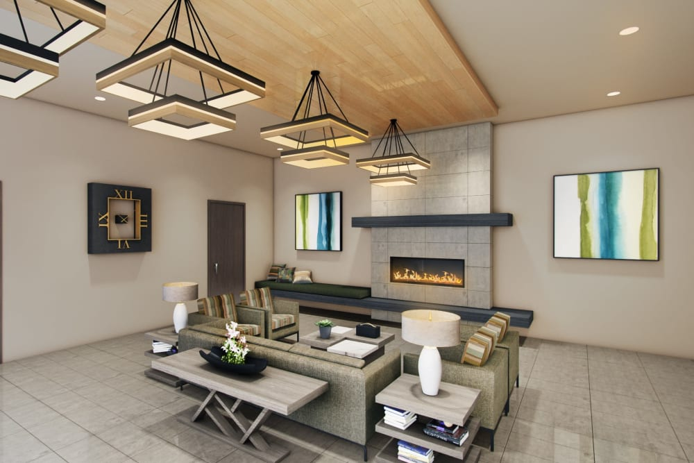 Rendering of main lobby interior at Seasons Memory Care at Rolling Hills in Torrance, California.