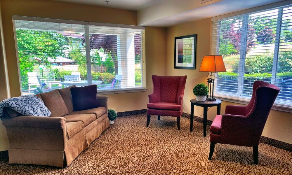 Clubroom corner at Maple Ridge Senior Living