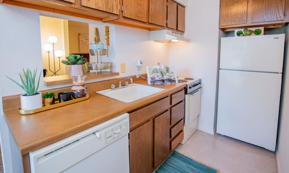 Studio kitchen at Raintree Apartments in Wichita, Kansas