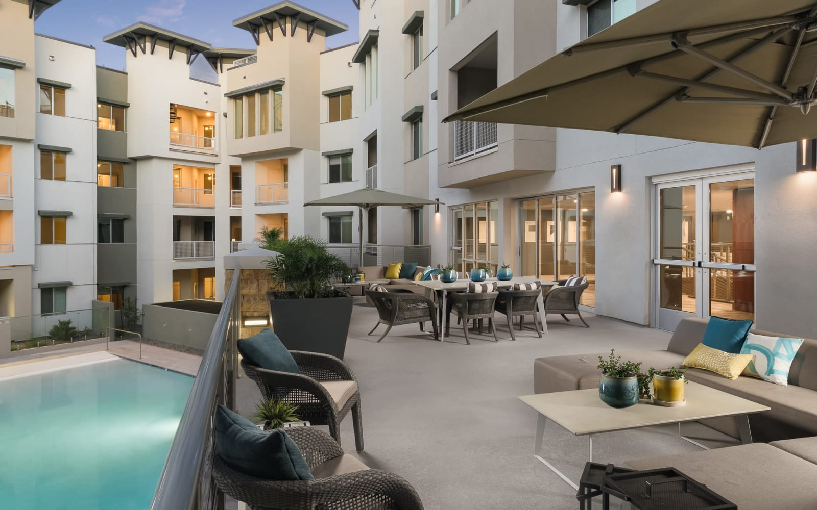 District at Scottsdale balcony overlooking outdoor pool area