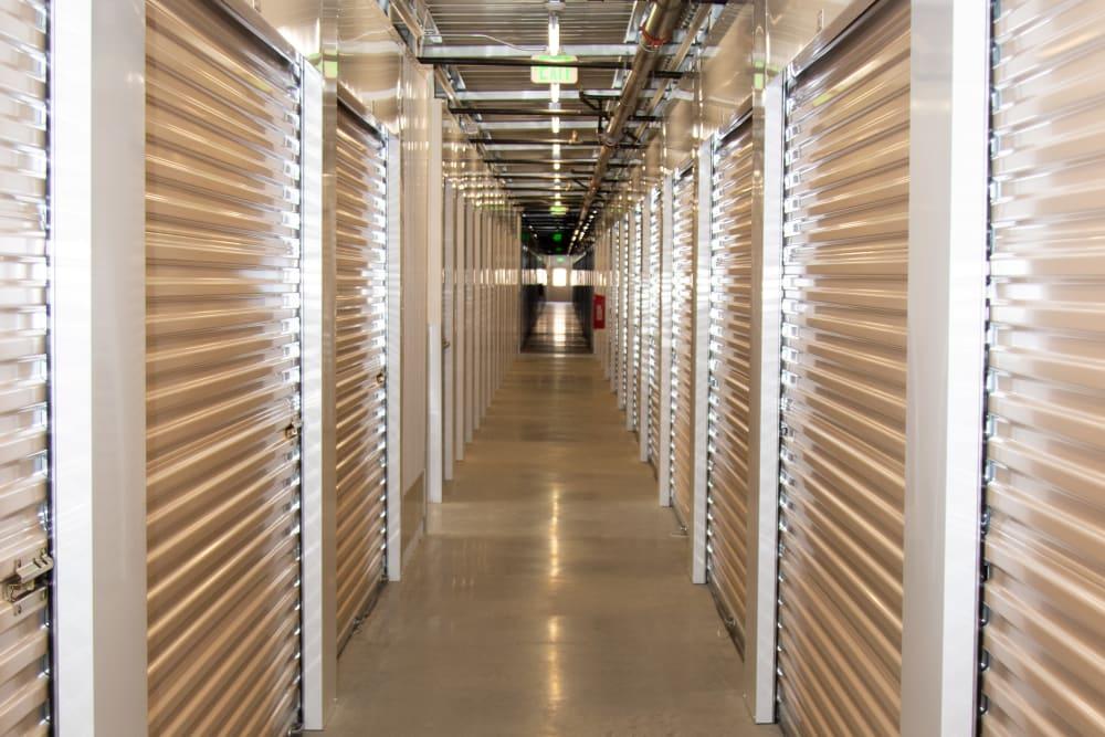 Hallway of indoor storage units at Stanford Ranch Self Storage