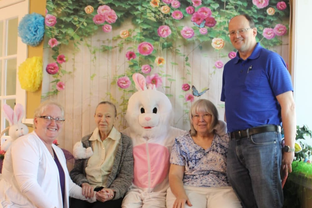 Residents with the Easter bunny at Autumn Grove Cottage at Copperfield in Houston, Texas