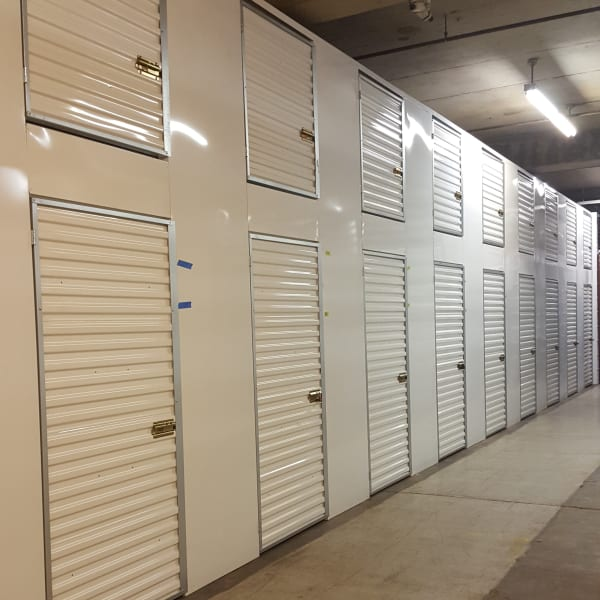 Small indoor storage units at StorQuest Self Storage in Shirley, New York