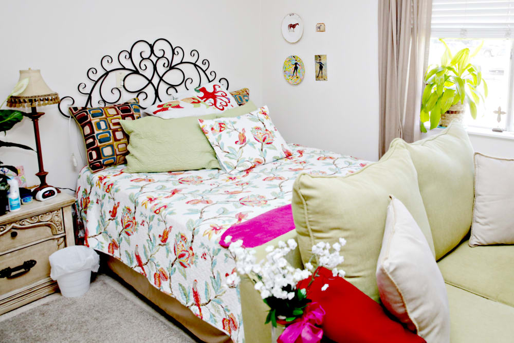A resident bedroom at Providence Assisted Living.
