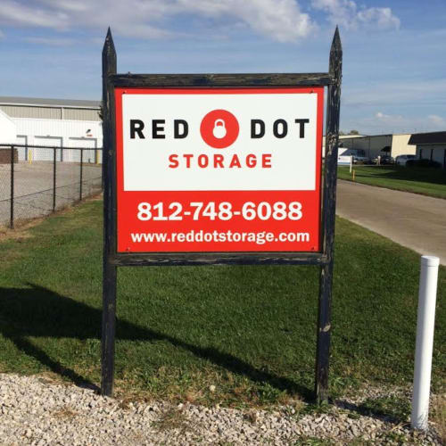 Sign at the street entrance of Red Dot Storage in Evansville, Indiana