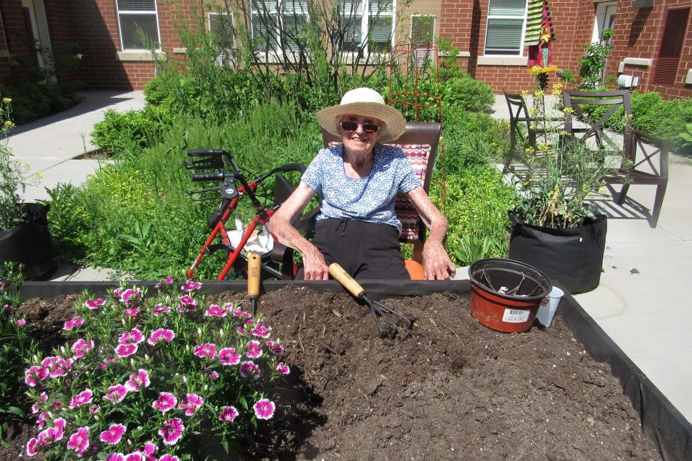 senior resident gardening