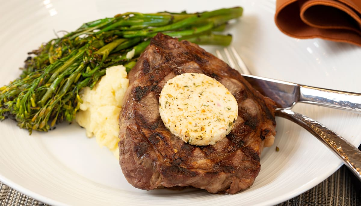 A succulent steak with a side of asparagus at Touchmark at Fairway Village in Vancouver, Washington