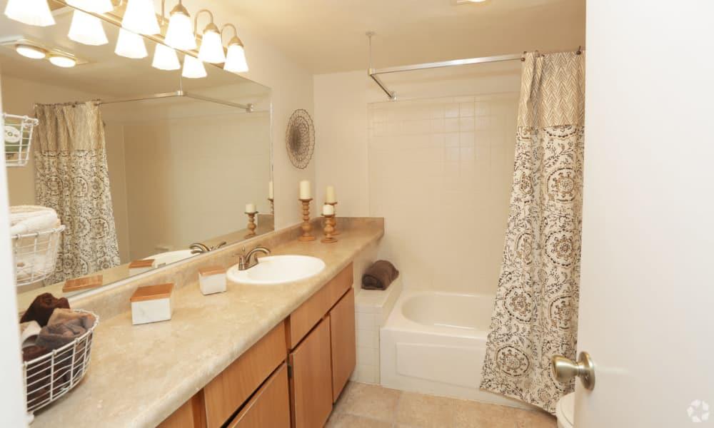 Bright bathroom at Shadow Ridge Apartments in El Paso, Texas