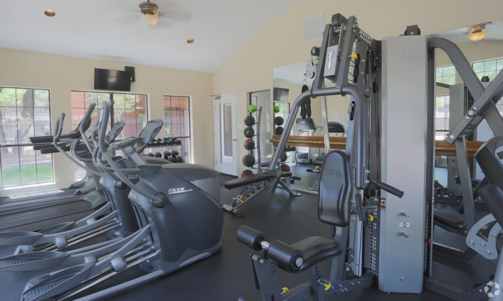 Fully equipped fitness center at Shadow Ridge Apartments in El Paso, Texas