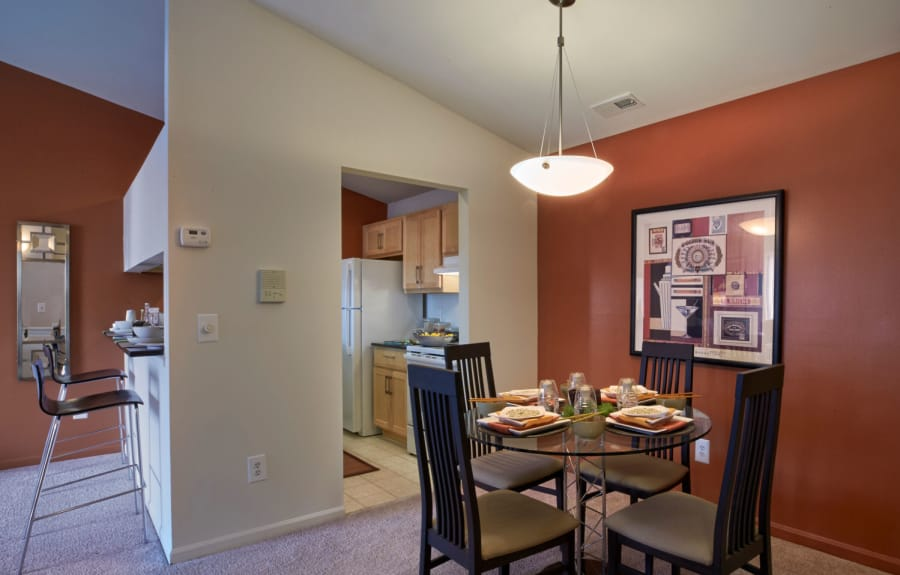 Dining area and breakfast bar at Lakeside Terraces in Sterling Heights, Michigan