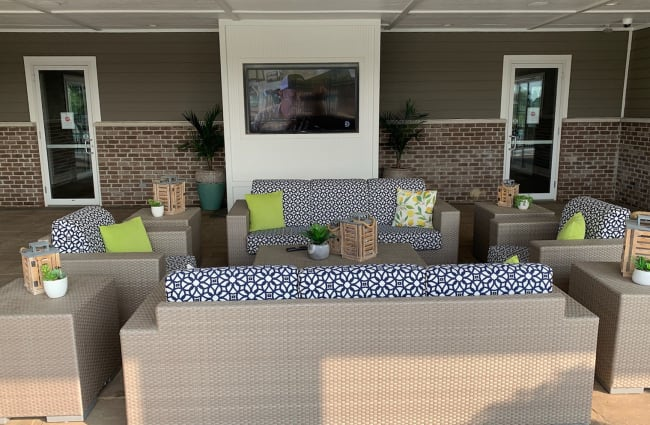 Outdoor covered lounge area at Bonterra Apartments in Fort Wayne, Indiana