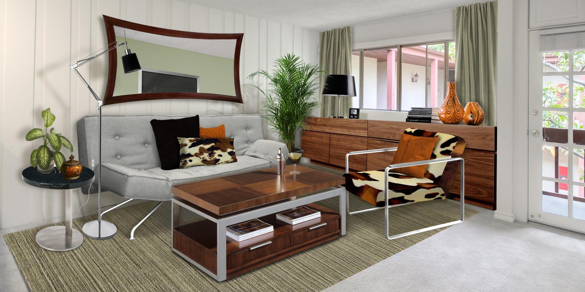 View a virtual tour of a studio apartment at Rancho Los Feliz in Los Angeles, California