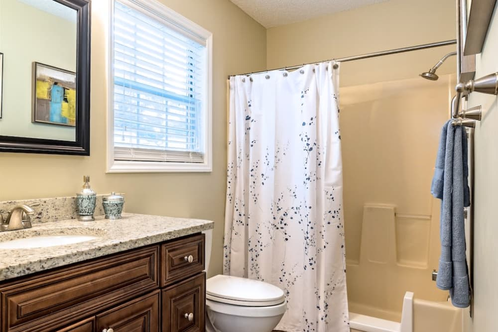 Bathroom Model House at Pacifica Senior Living Heritage Hills in Hendersonville, North Carolina