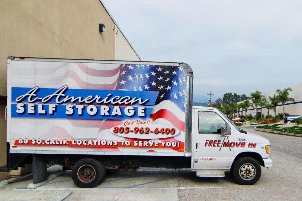 A branded moving truck at A-American Self Storage in Santa Barbara, California