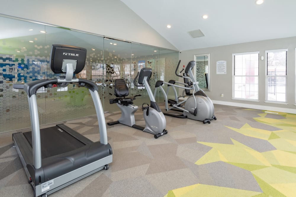 Fitness center at 1820 South Apartments in Mount Pleasant, Michigan.