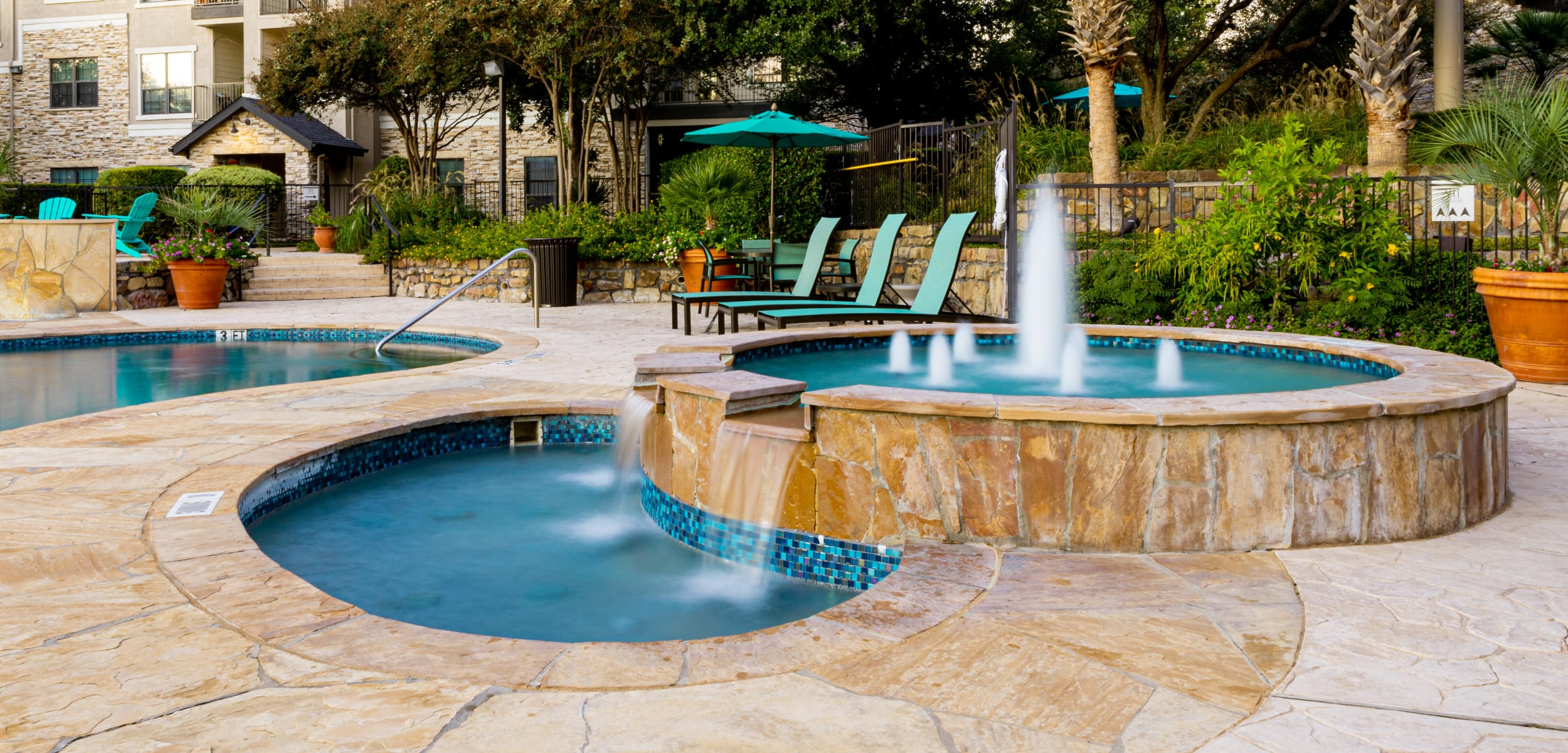 Outdoor water feature at Marquis Parkside in Austin Texas,
